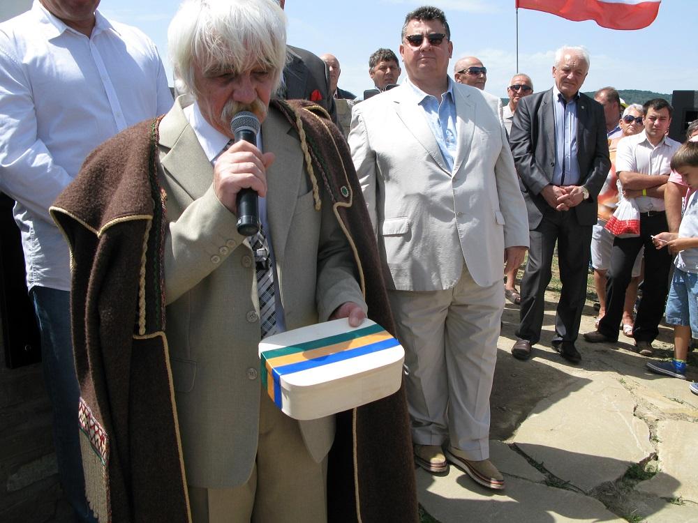 Петро Трохановскій заспівал Свіржаву на одкрытю памятника Князя Лабірця.