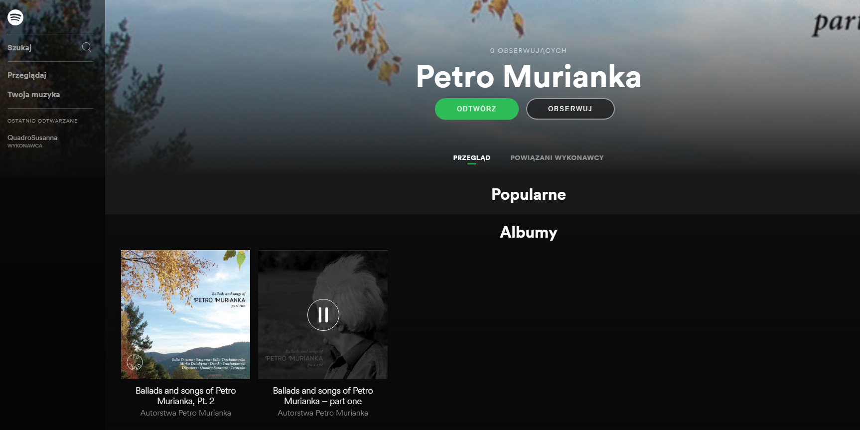 Petro Murianka on Spotify and iTunes