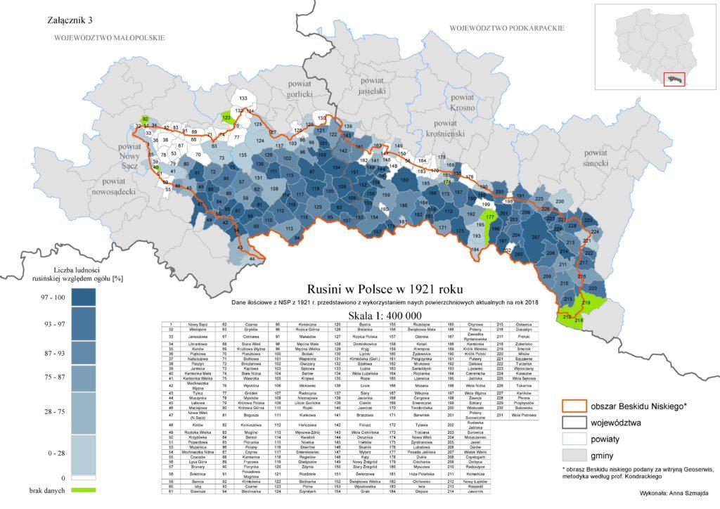 Русины в Польщы в 1921 р. (мапа тыкат ся русиньского населіня лем в Низкым Бескіді)